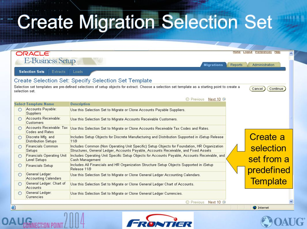 Create Migration Selection Set