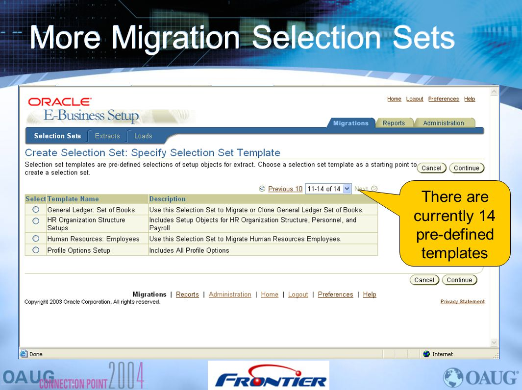 More Migration Selection Sets