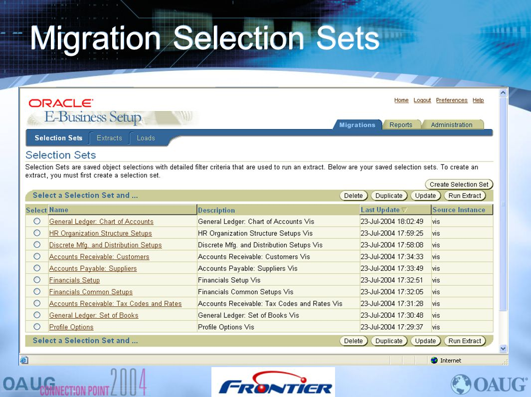 Migration Selection Sets