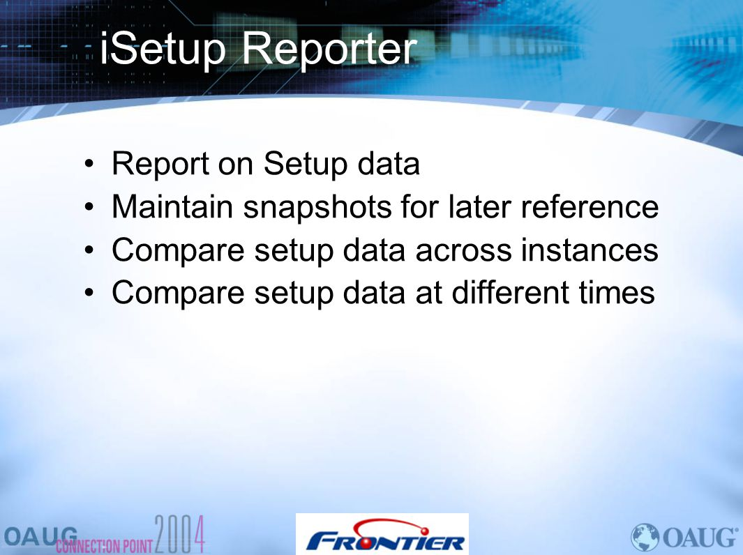 iSetup Reporter Report on Setup data