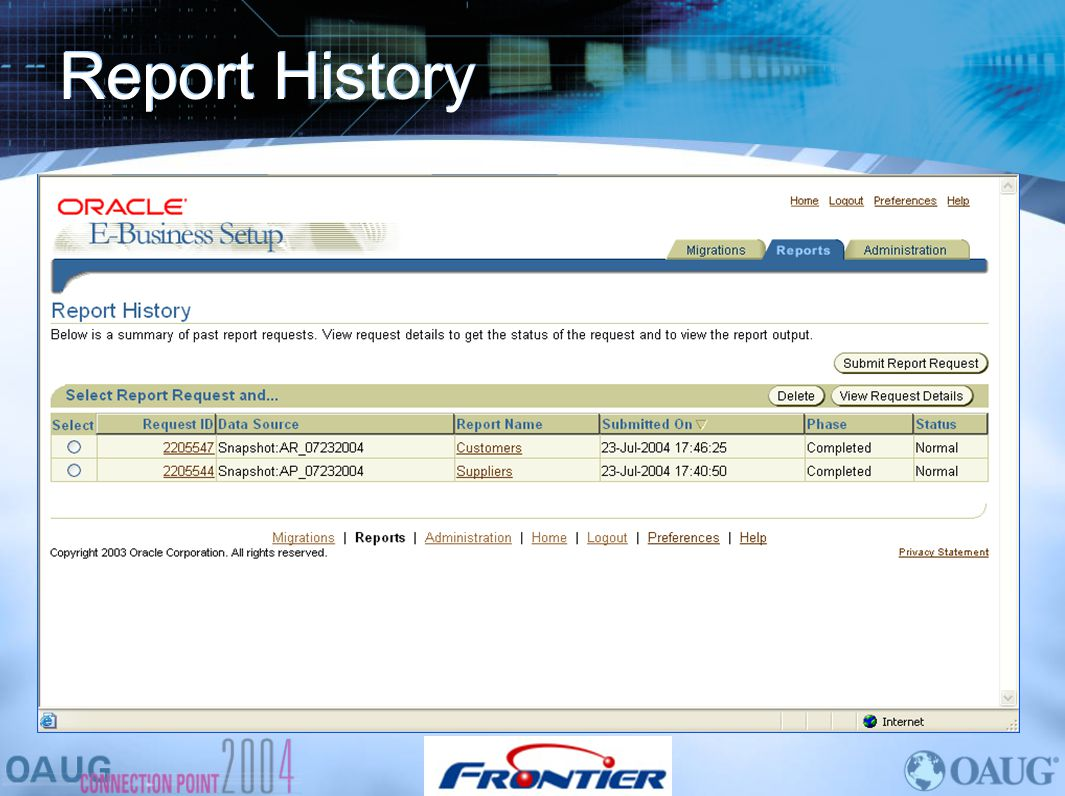 Report History Here is where you can review your report history with options to view or delete