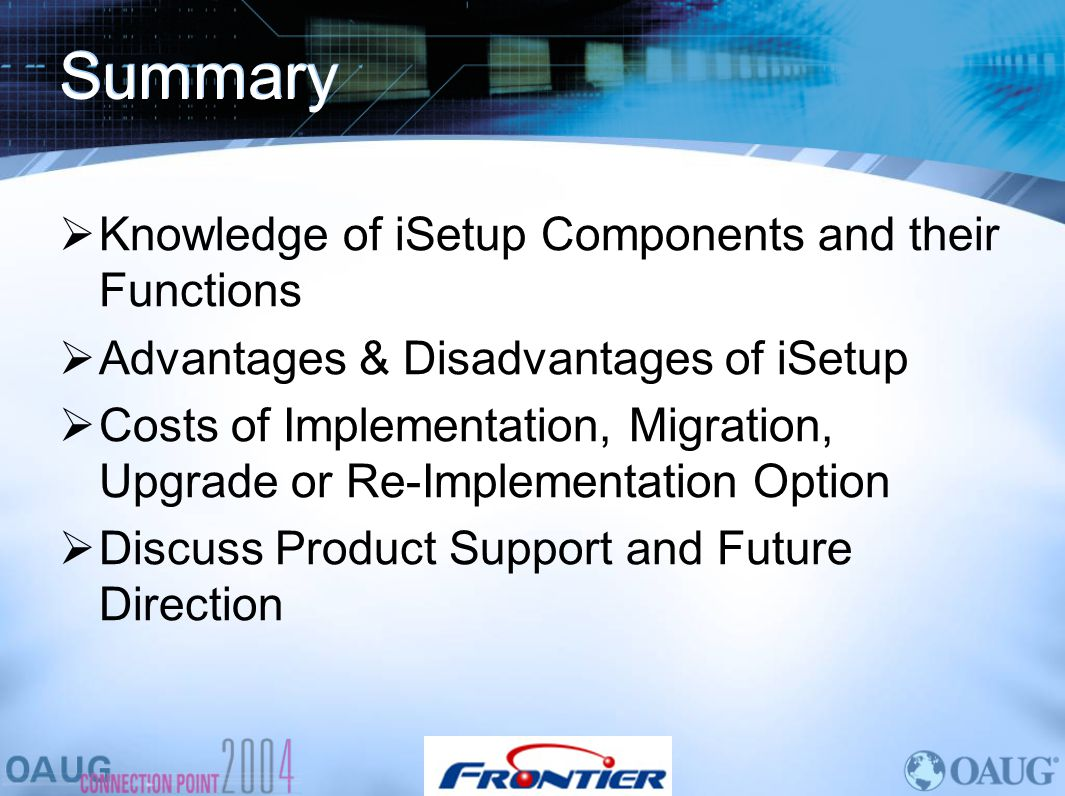 Summary Knowledge of iSetup Components and their Functions