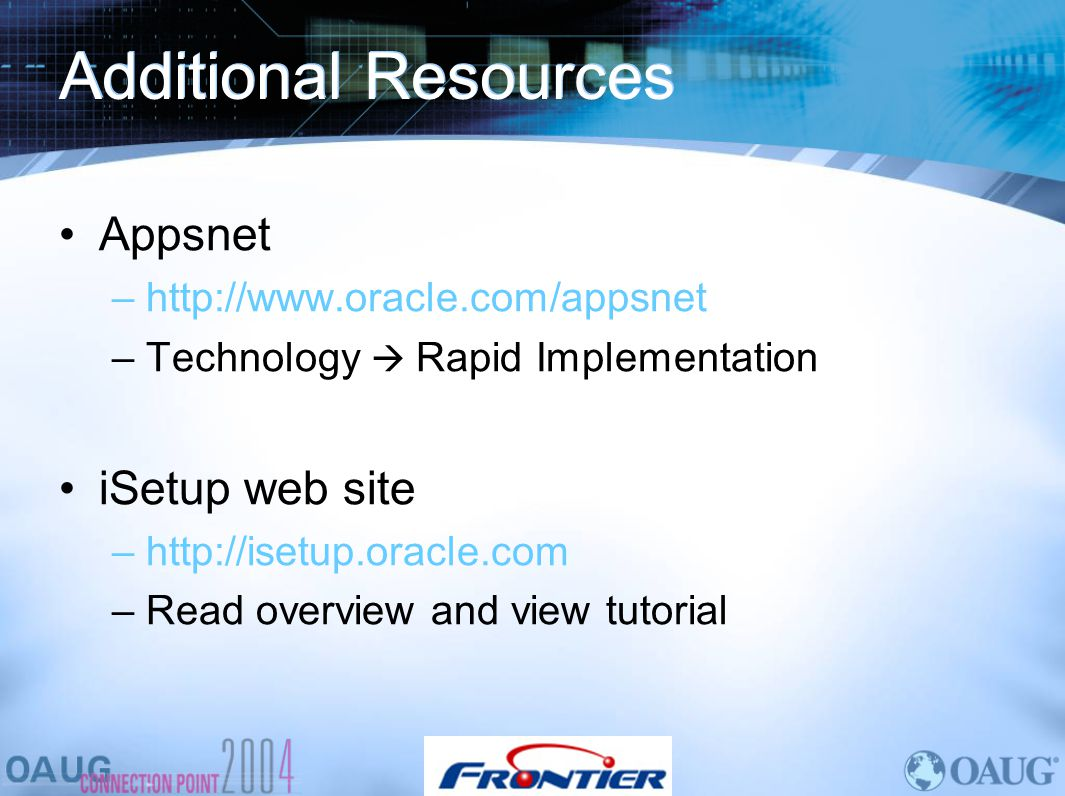 Additional Resources Appsnet iSetup web site