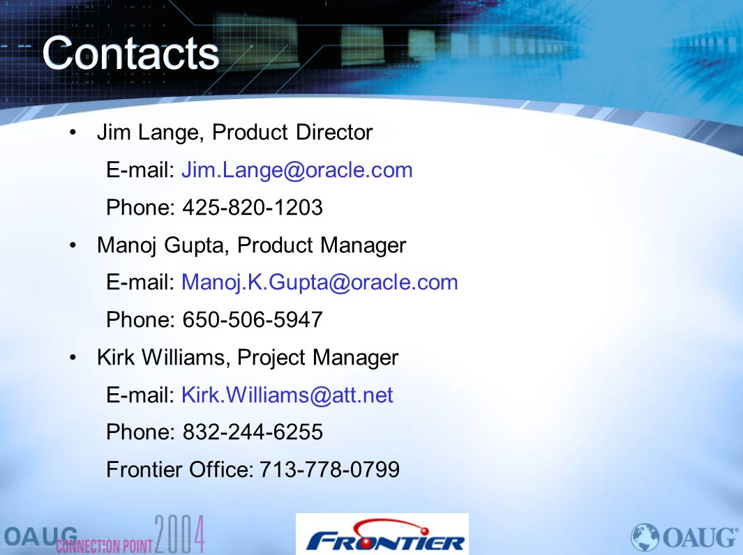 Contacts Jim Lange, Product Director