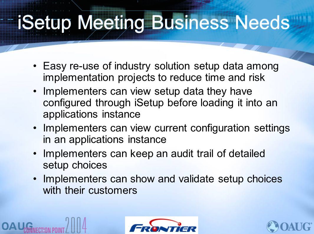 iSetup Meeting Business Needs