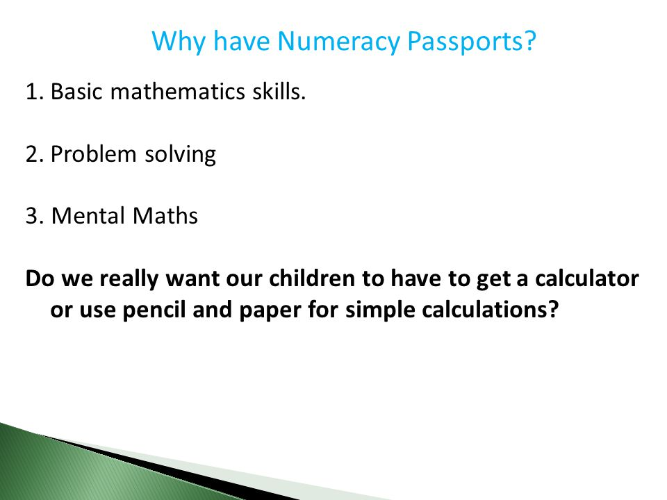 Why have Numeracy Passports
