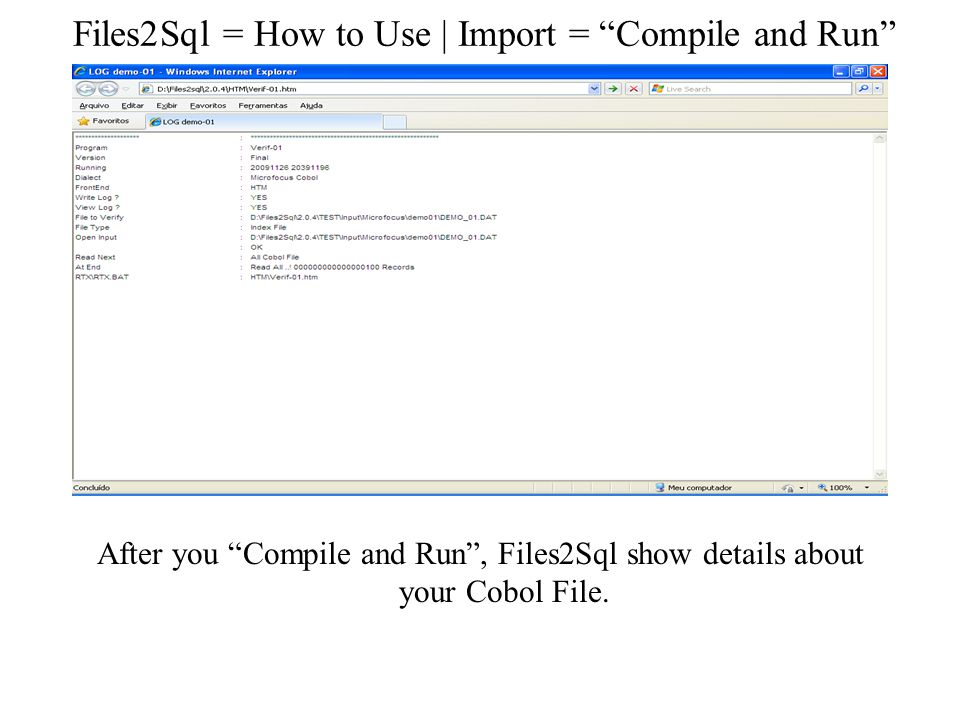 Files2Sql = How to Use | Import = Compile and Run