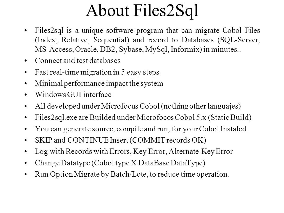About Files2Sql
