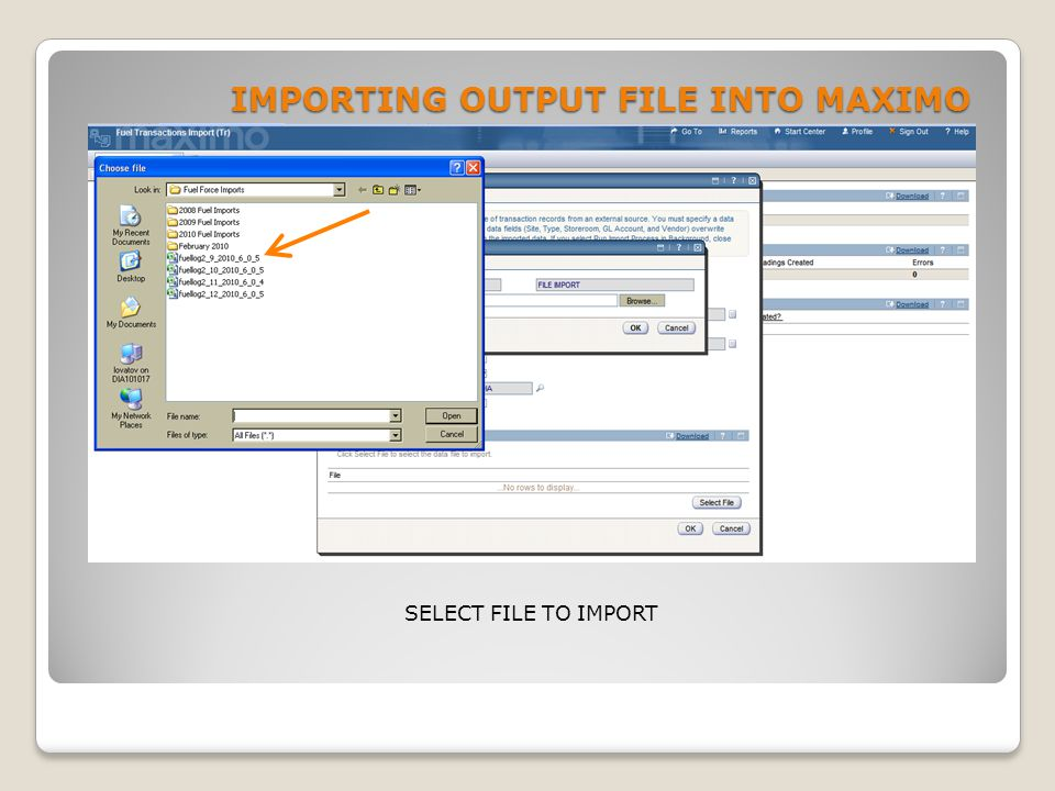 IMPORTING OUTPUT FILE INTO MAXIMO