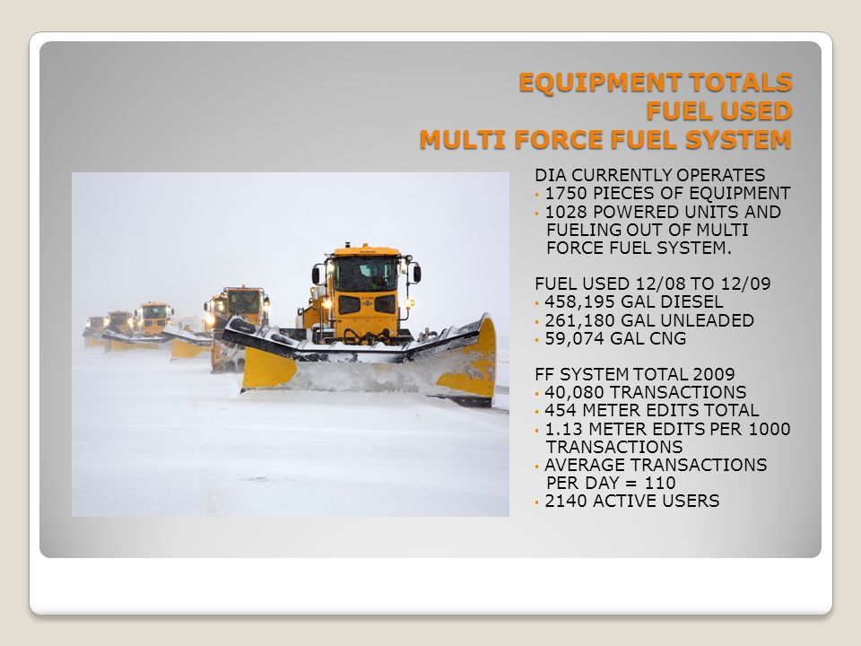 EQUIPMENT TOTALS FUEL USED MULTI FORCE FUEL SYSTEM