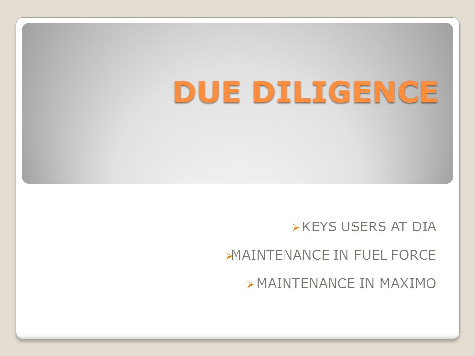 KEYS USERS AT DIA MAINTENANCE IN FUEL FORCE MAINTENANCE IN MAXIMO