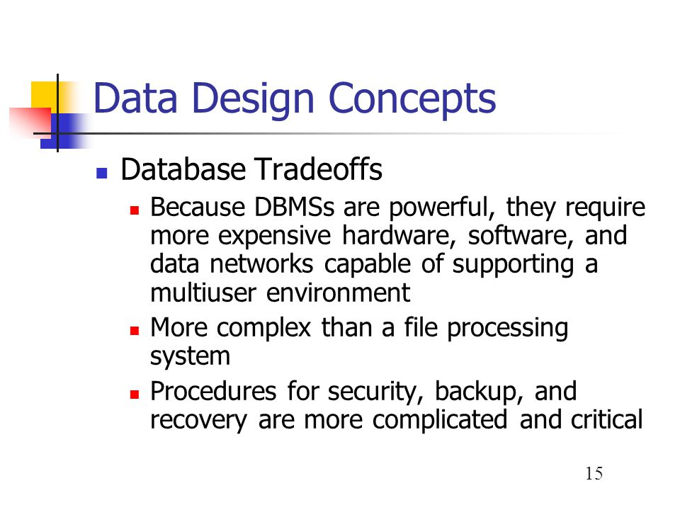 Data Design Concepts Database Tradeoffs