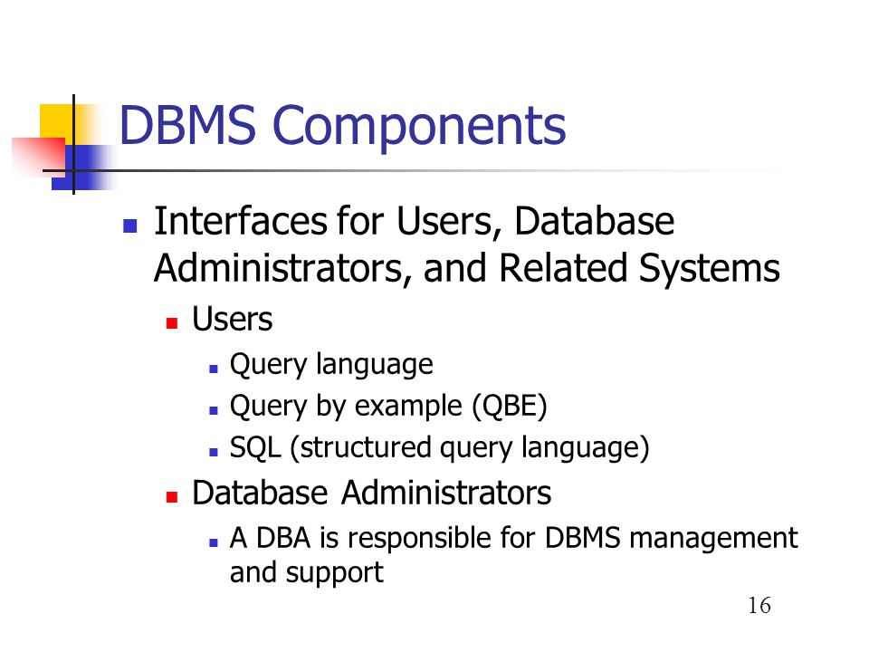 DBMS Components Interfaces for Users, Database Administrators, and Related Systems. Users. Query language.