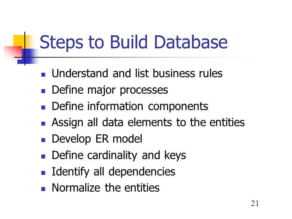 Steps to Build Database