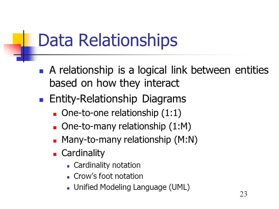 Data Relationships A relationship is a logical link between entities based on how they interact. Entity-Relationship Diagrams.