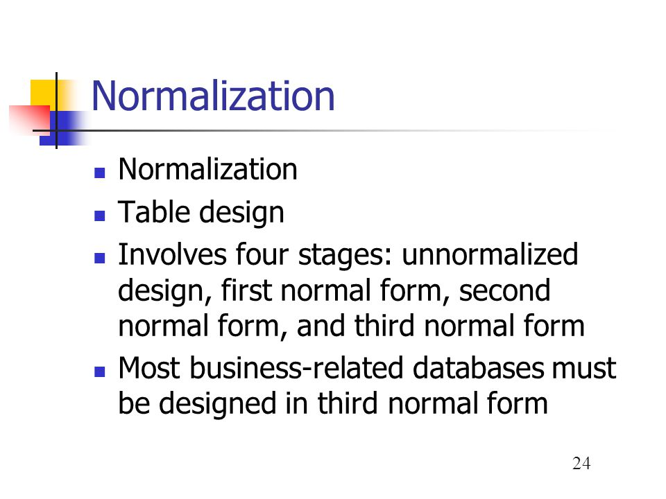 Normalization Normalization Table design