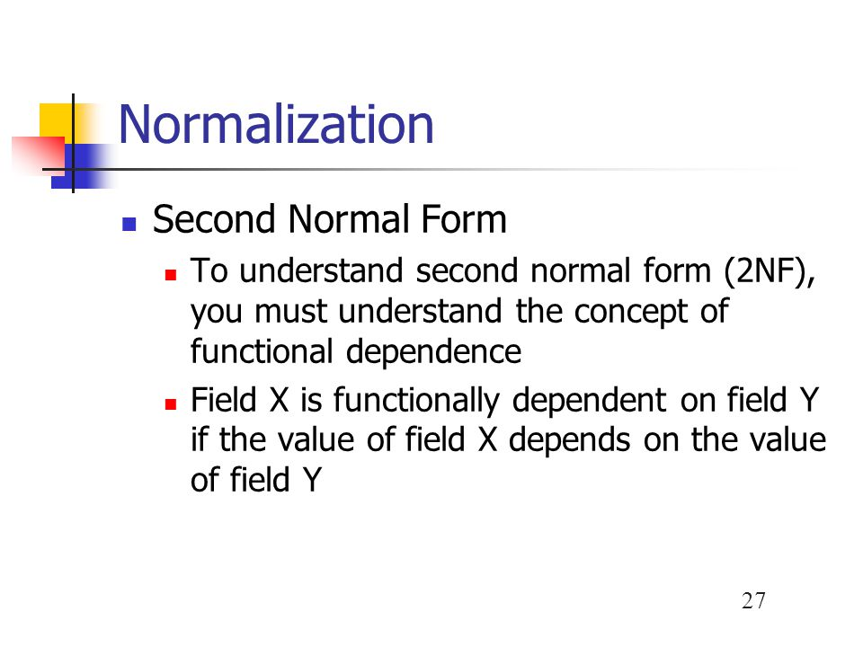 Normalization Second Normal Form