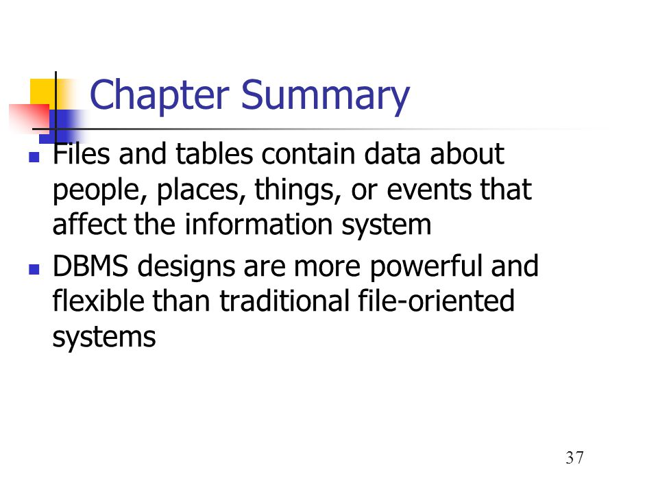 Chapter Summary Files and tables contain data about people, places, things, or events that affect the information system.