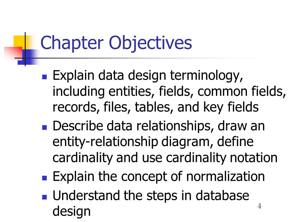 Chapter Objectives Explain data design terminology, including entities, fields, common fields, records, files, tables, and key fields.