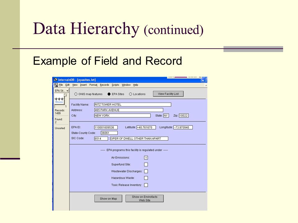 Data Hierarchy (continued)