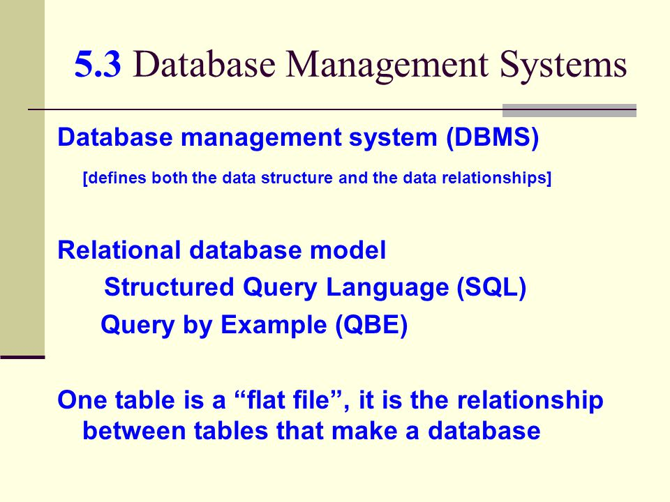 5.3 Database Management Systems