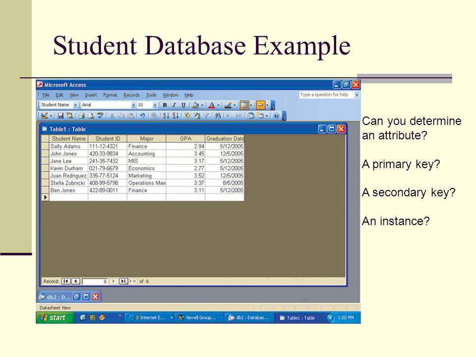Student Database Example