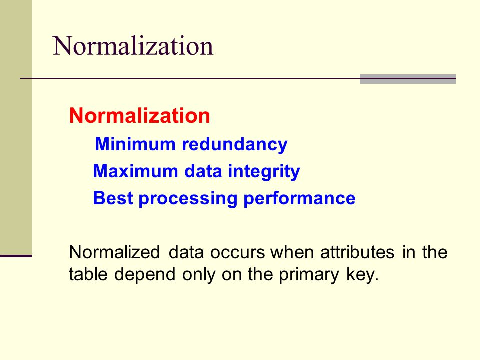 Normalization Normalization Minimum redundancy Maximum data integrity