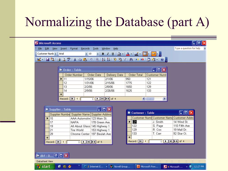 Normalizing the Database (part A)