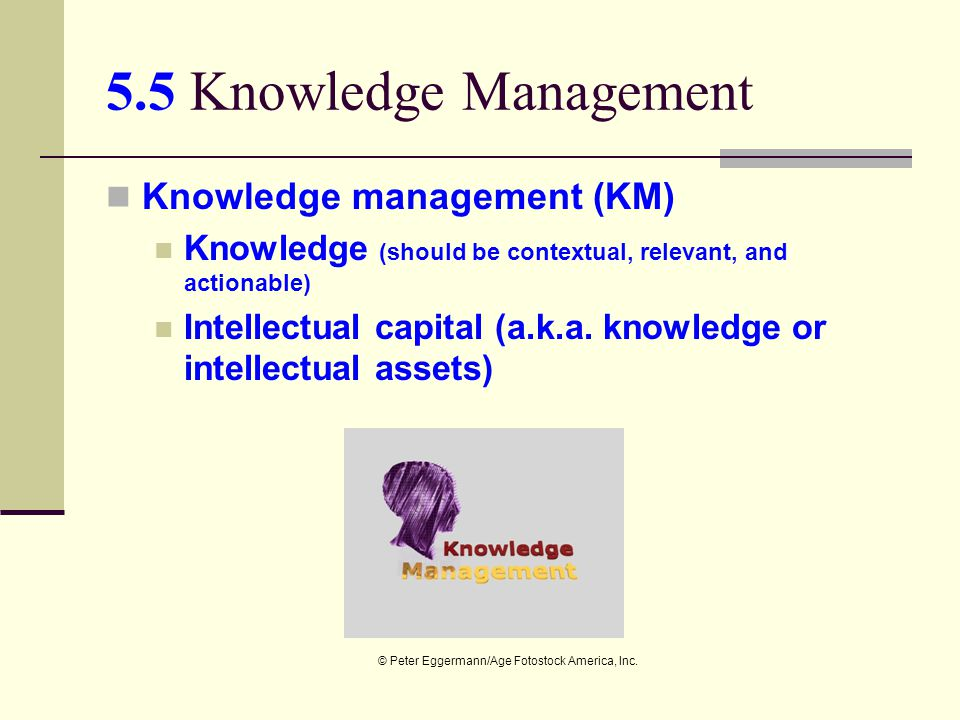 5.5 Knowledge Management Knowledge management (KM)