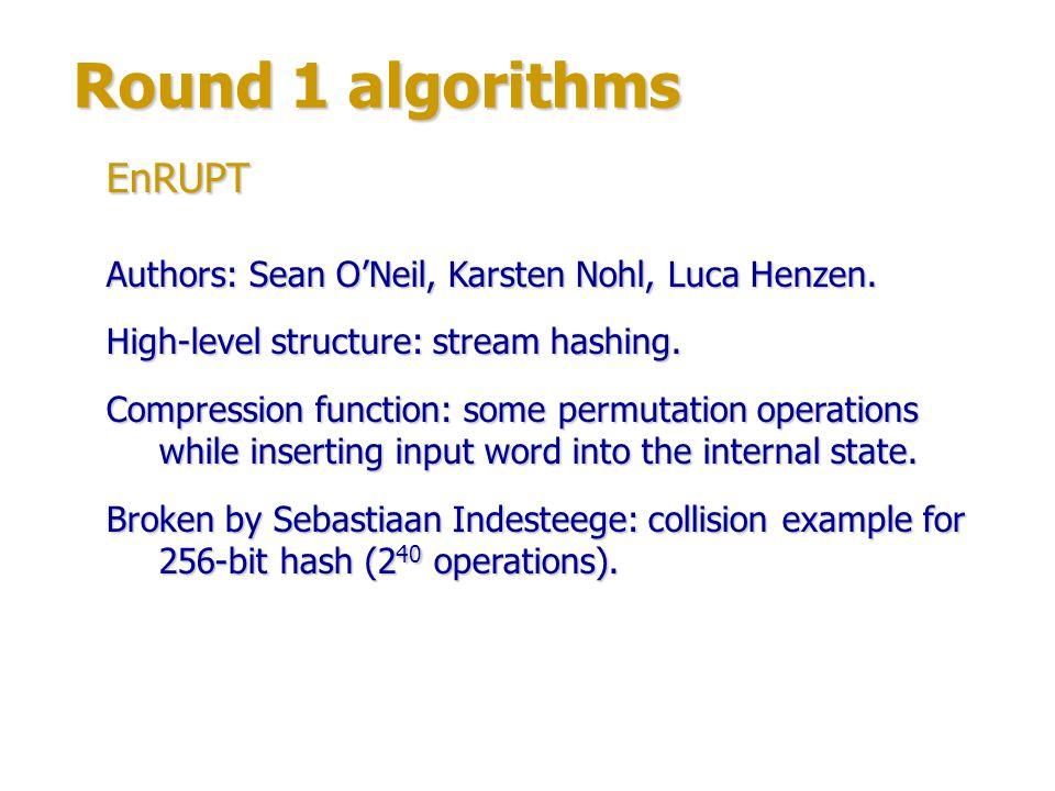 Round 1 algorithms EnRUPT