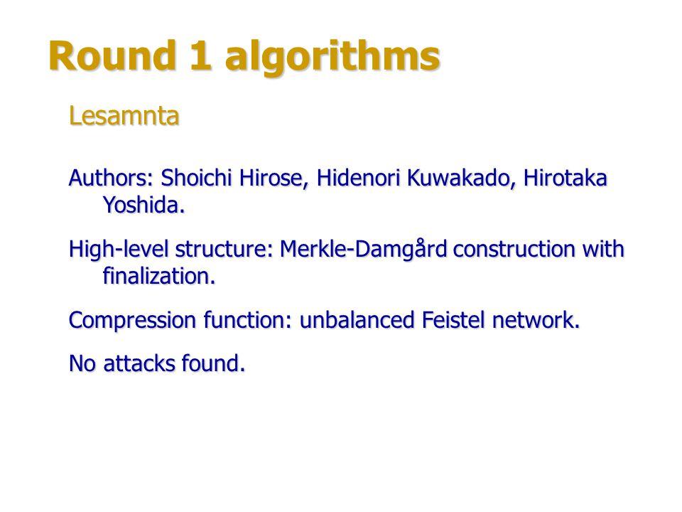 Round 1 algorithms Lesamnta