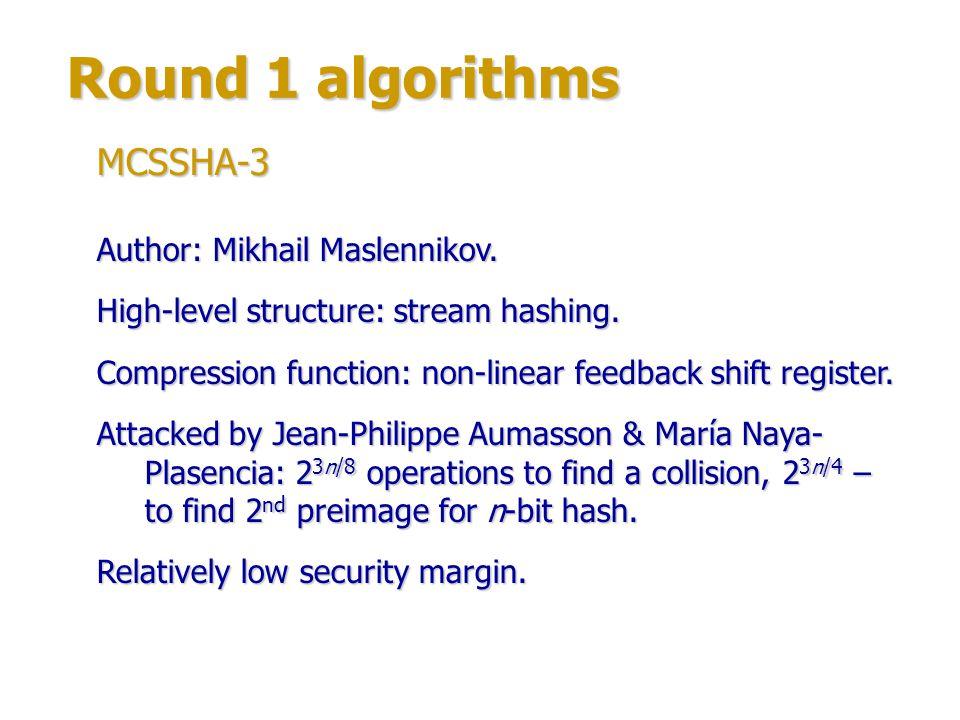 Round 1 algorithms MCSSHA-3 Author: Mikhail Maslennikov.