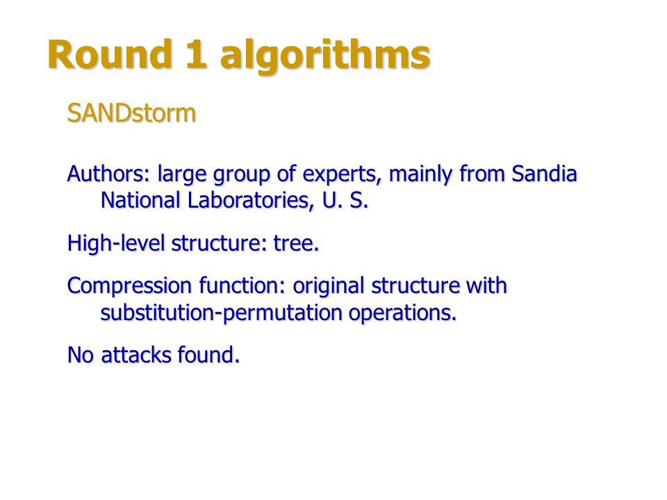 Round 1 algorithms SANDstorm