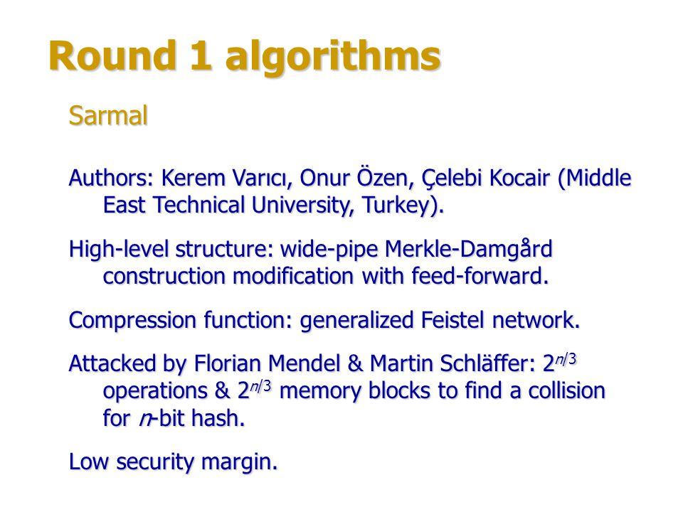 Round 1 algorithms Sarmal