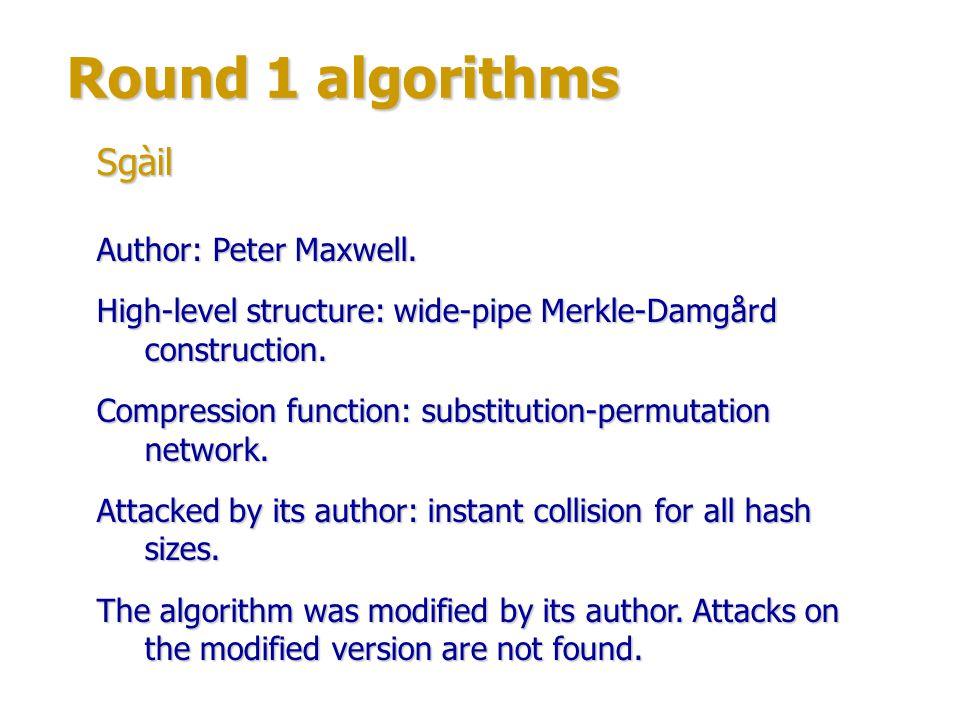 Round 1 algorithms Sgàil Author: Peter Maxwell.