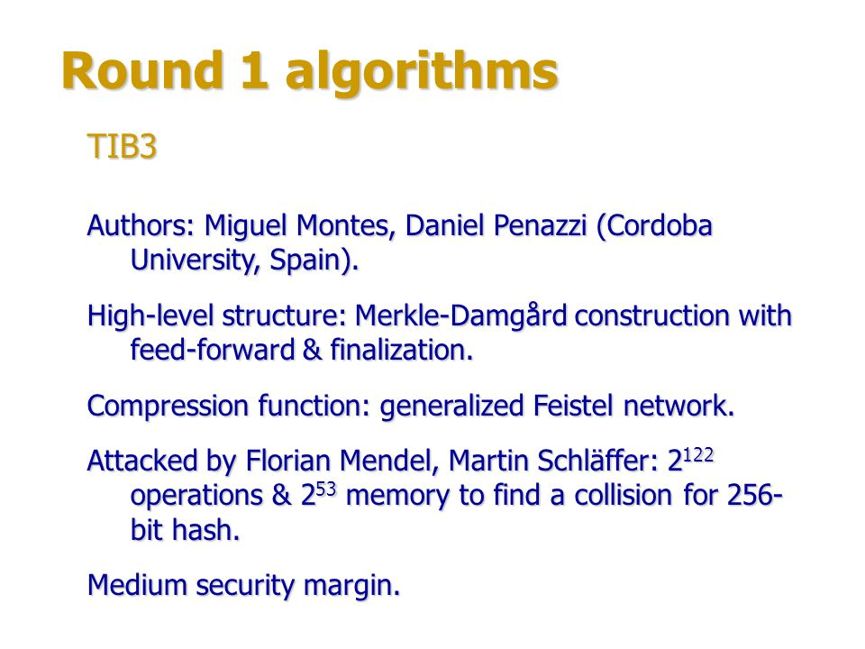 Round 1 algorithms TIB3. Authors: Miguel Montes, Daniel Penazzi (Cordoba University, Spain).