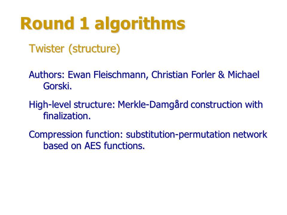 Round 1 algorithms Twister (structure)