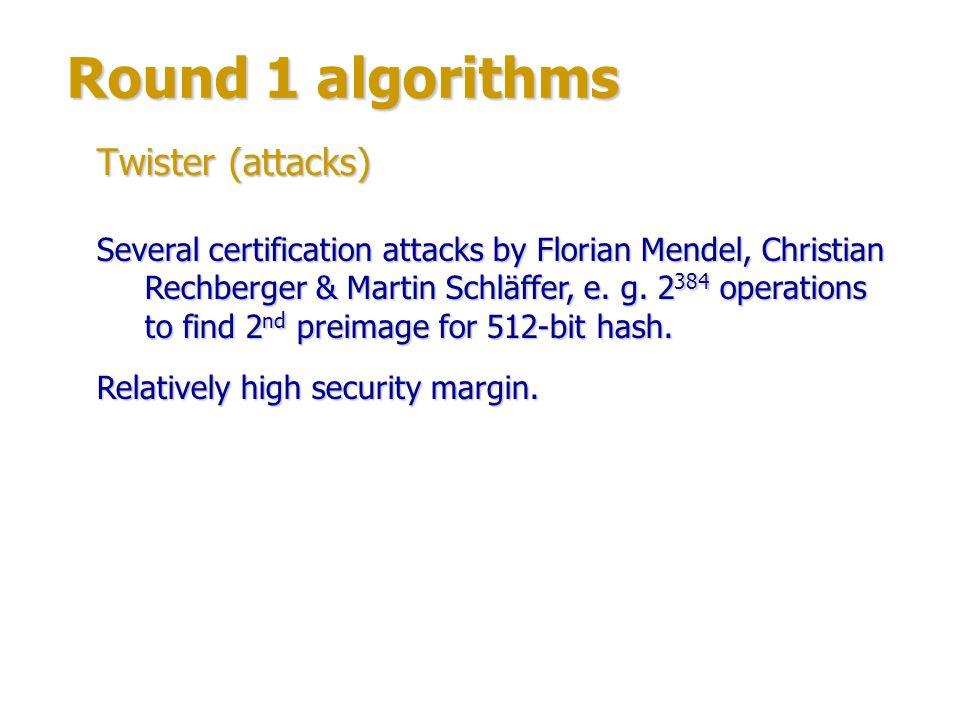 Round 1 algorithms Twister (attacks)