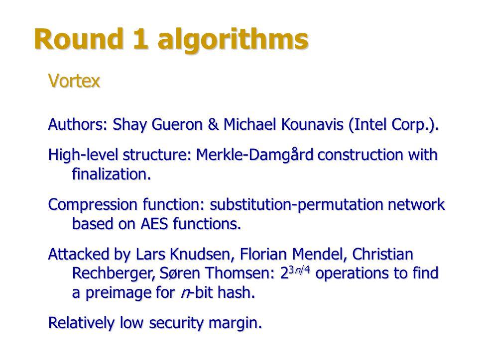Round 1 algorithms Vortex