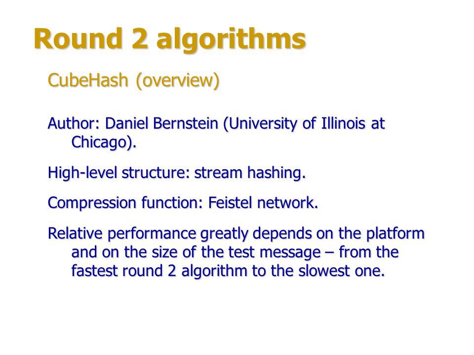 Round 2 algorithms CubeHash (overview)
