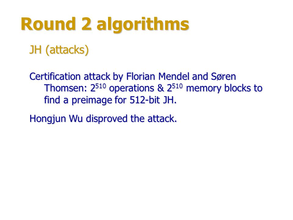 Round 2 algorithms JH (attacks)