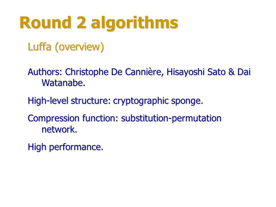 Round 2 algorithms Luffa (overview)