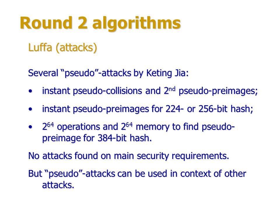 Round 2 algorithms Luffa (attacks)