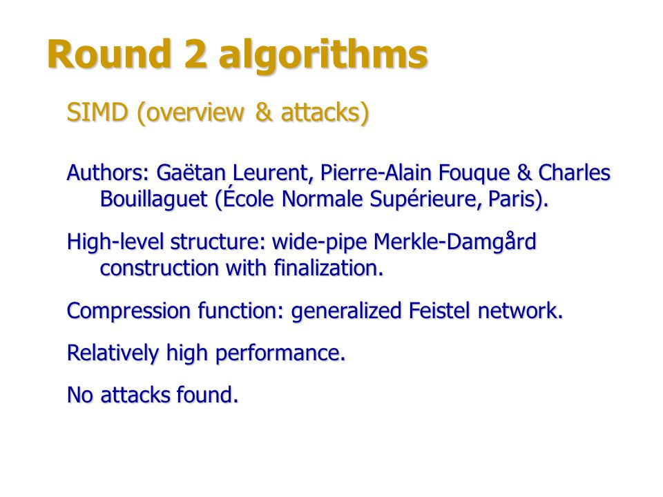 Round 2 algorithms SIMD (overview & attacks)