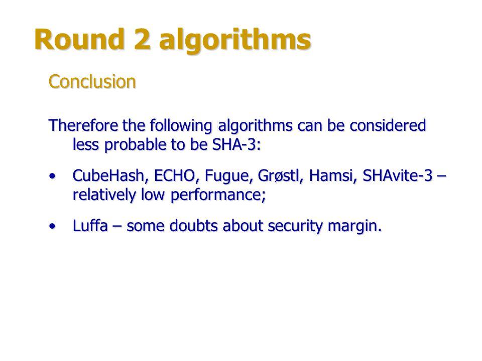 Round 2 algorithms Conclusion