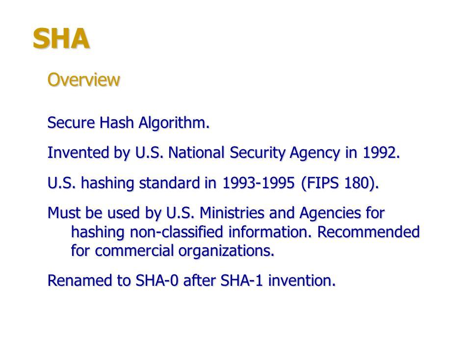 SHA Overview Secure Hash Algorithm.