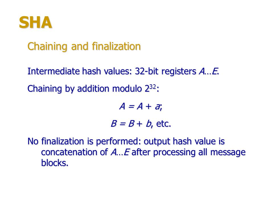 SHA Chaining and finalization