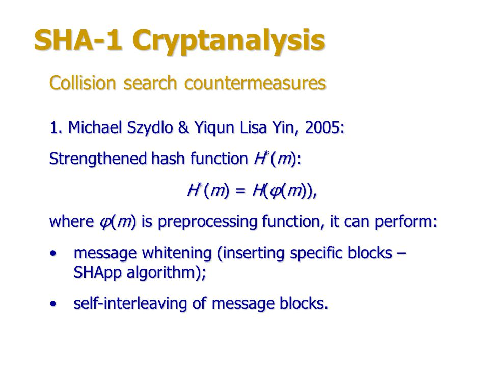 SHA-1 Cryptanalysis Collision search countermeasures