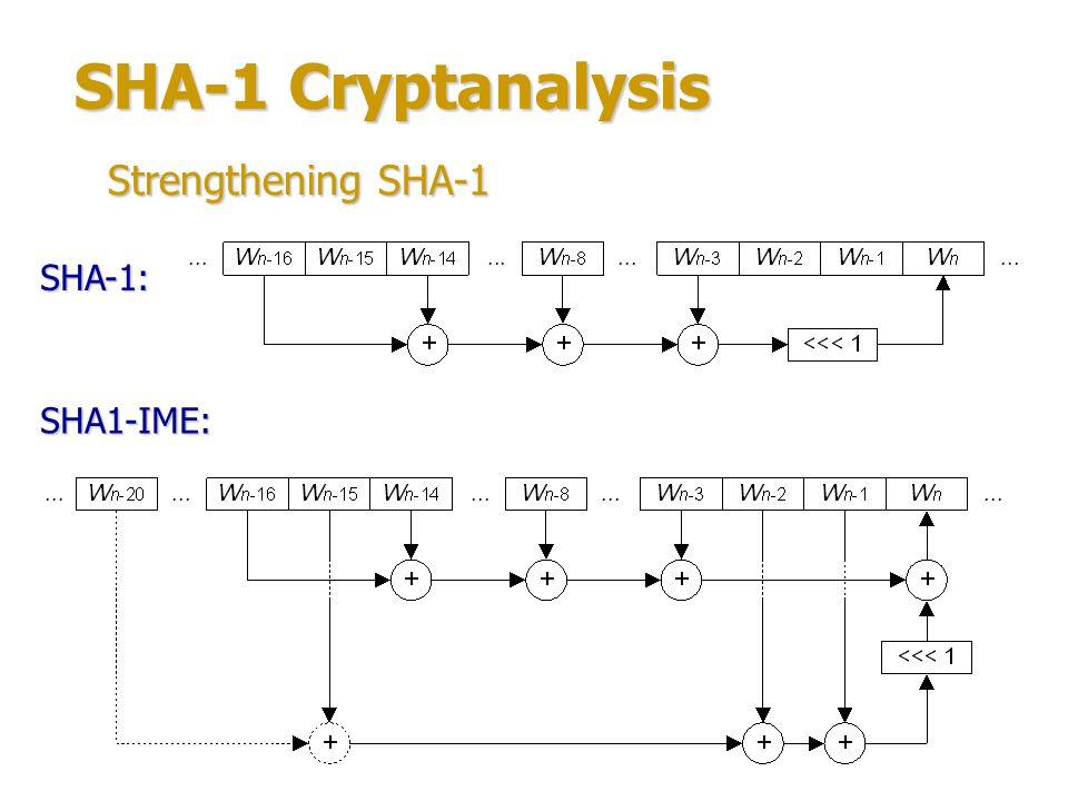 SHA-1 Cryptanalysis Strengthening SHA-1 SHA-1: SHA1-IME: