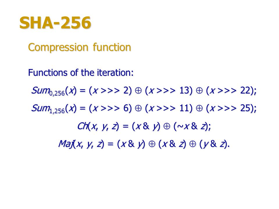 SHA-256 Compression function Functions of the iteration:
